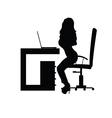 girl sensual in office silhouette vector image vector image