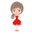 girly fairy without wings and light brown and grey vector image