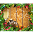 Glass of champagne and brown Christmas ball vector image vector image