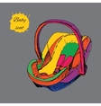 hand drawn colorful baby seat for vector image