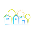 Houses tree and sun logo vector image