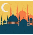 Islamic greeting card with mosque in flat design vector image