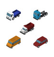 isometric transport set of car truck freight and vector image vector image
