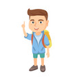 little caucasian boy pointing his forefinger up vector image