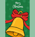 merry christmas bell ornament cartoon card vector image vector image