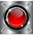 Metal background with red glass button vector image vector image