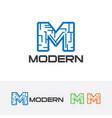 modern letter m logo vector image