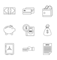 Money icons set outline style vector image vector image