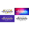 office working flat line concept for web banner vector image vector image