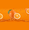 orange drops fresh fruit background 3d realistic vector image vector image