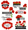 poppy flower memorial wreath for remembrance day vector image vector image