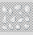 realistic detailed 3d clear water drops set vector image vector image