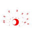 red bowling pins and ball vector image vector image