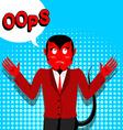 Red Devil speak OOPS Surprised by demon Satan is vector image