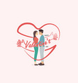 romantic couple with hearts shapevalentines day vector image vector image
