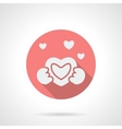 Round pink love proposal flat icon vector image vector image