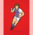 rugplayer action cartoon sport graphic vector image