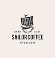 sail coffee cafe sailor hipster vintage logo icon vector image
