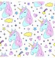 seamless pattern hand drawn unicorns vector image vector image