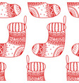 seamless pattern of christmas decorative sock vector image vector image