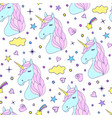 seamless pattern of hand drawn unicorns vector image vector image