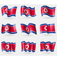 Set of Korea North flags in the air vector image vector image