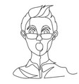 shocked man in eyeglasses portrait one line art vector image