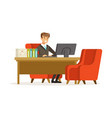 smiling businessman working with a computer at his vector image vector image