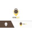sport and map pointer logo combination gym vector image vector image