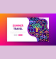 summer travel neon landing page vector image