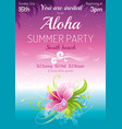 sunset beach sea poster hawaiian luau party vector image