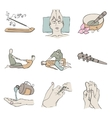 Thai massage isolated color icon set vector image