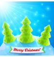 Three Christmas trees in polygonal style vector image vector image