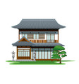 traditional two floors japan house vector image