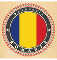 vintage label cards romania flag vector image vector image