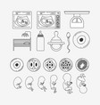 white background silhouette set pregnancy icons vector image