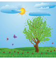 Tree on meadow vector image
