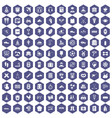 100 activity icons hexagon purple vector image vector image