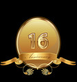 16th golden anniversary birthday seal icon vector image vector image