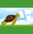 a turtle on note template vector image vector image