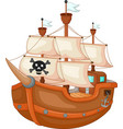 antique pirate yacht cartoon vector image vector image