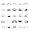 big set of retro sun burst shapes 25 half vintage vector image vector image
