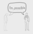 businessman with speech bubble and impossible and vector image