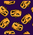 cartoon seamless pattern with pumpkin halloween vector image