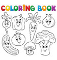 coloring book vegetable theme 1 vector image