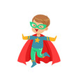 Comic little kid in colorful superhero costume