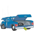 crash car with open trunk vector image vector image