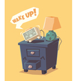 Cute alarm clock shouts Wake up vector image