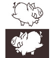 cute wild boar character vector image vector image