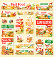 fast food humburger pizza hot dog and soda tags vector image vector image